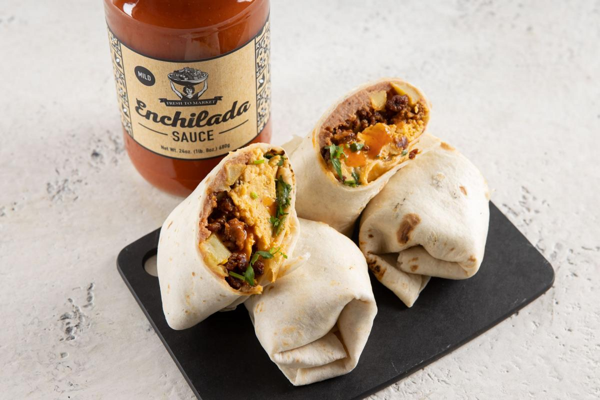 breakfast burritos with FTM enchilada sauce
