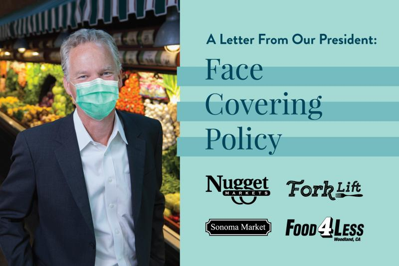 photo of Eric Stille with mask and text saying a letter from our president: face covering policy