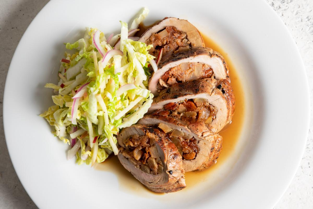 apple-stuffed pork tenderloin au jus with fuji apple slaw