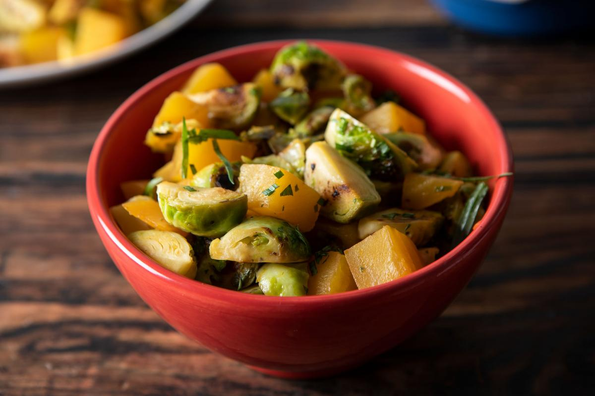 caramelized brussels sprouts with golden beets