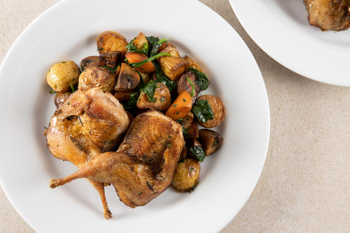 quail with roasted vegetables
