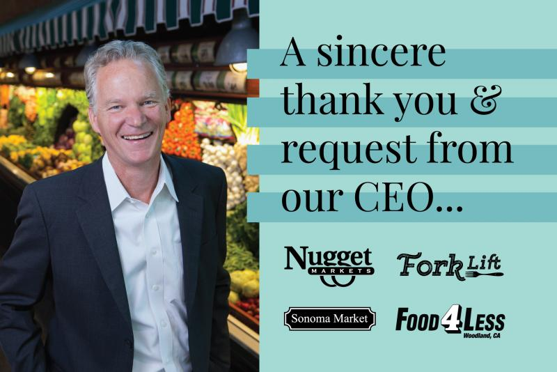 photo of Eric Stille with text saying a sincere thank you and request from our CEO